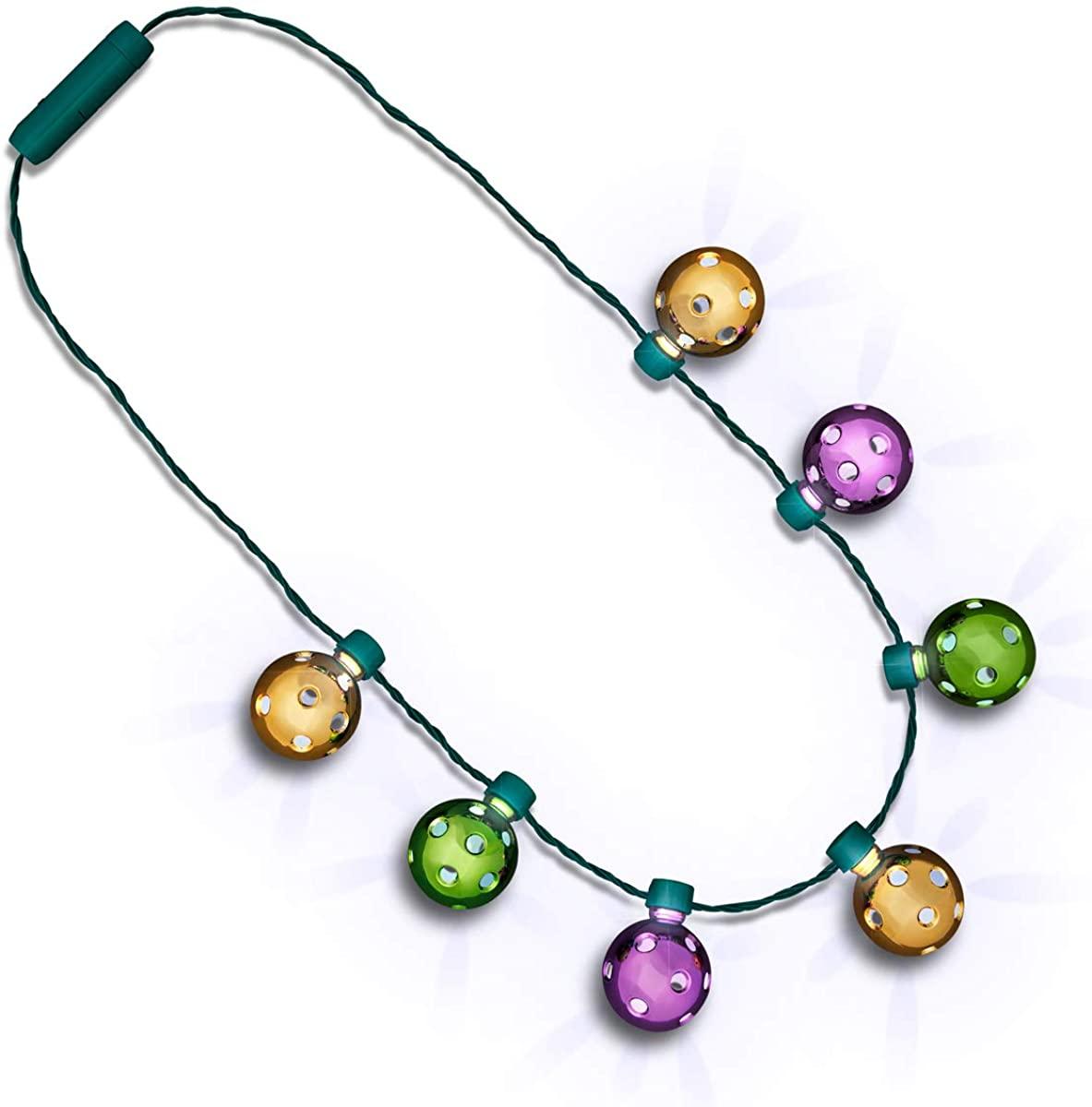 Light Up Disco Lights Mardi Gras Party Necklace
