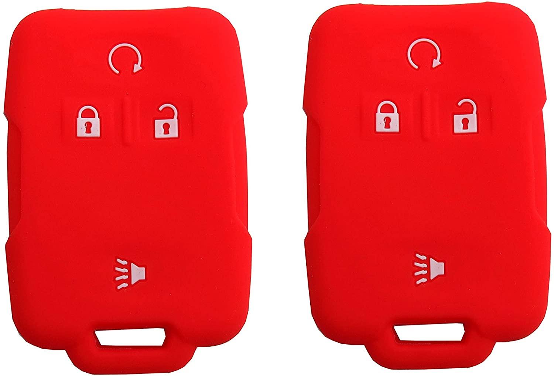 BAR Autotech Remote Key Silicone Rubber Keyless Entry Shell Case Fob and Key Skin Cover fit for Chevrolet Silverado Colorado M3N32337100 13577770 13577771 GMC Sierra Yukon Cadillac (1 Pair) (Red)