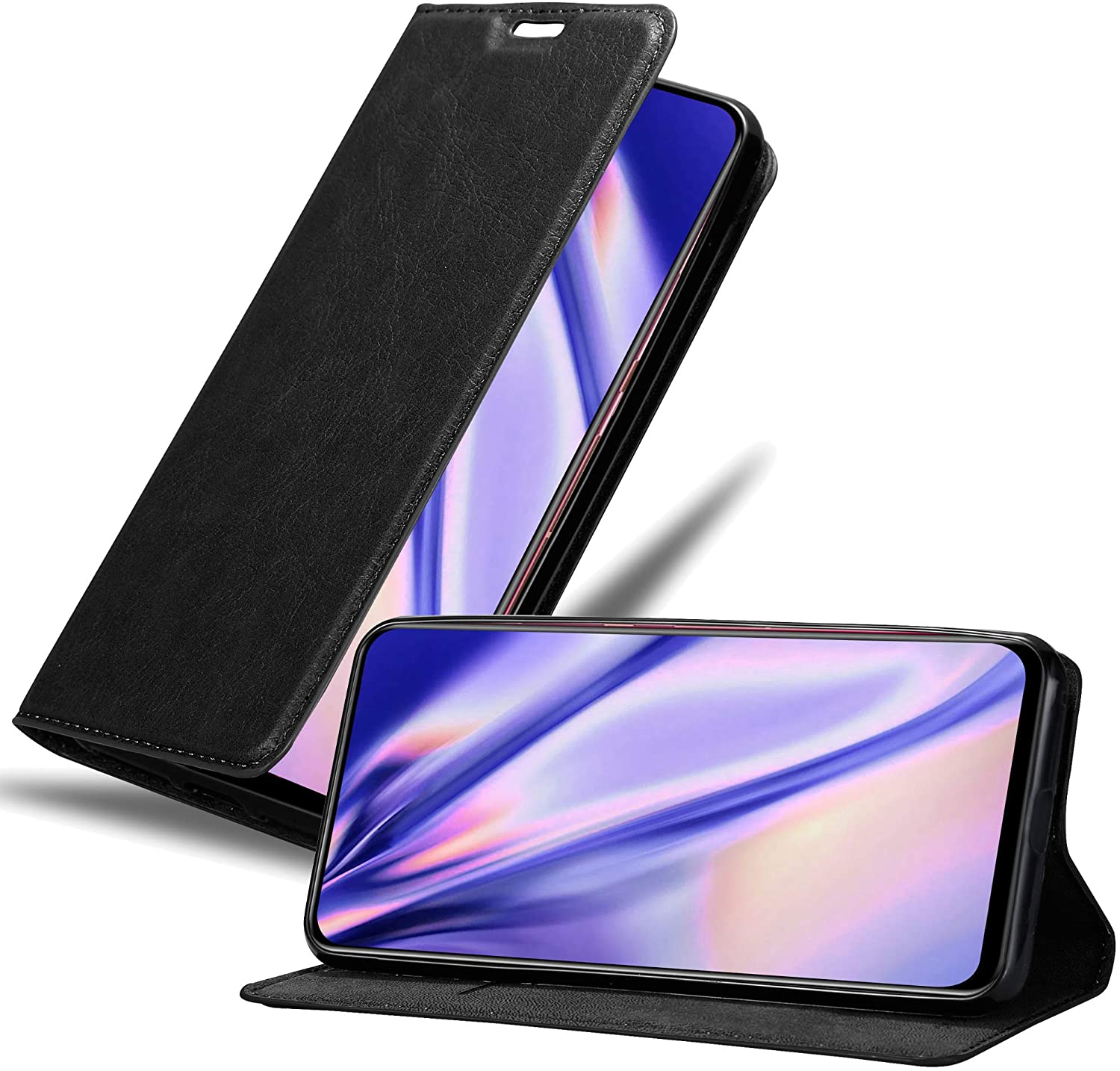 Cadorabo Book Case Works with Vivo V15 in Night Black - with Magnetic Closure, Stand Function and Card Slot - Wallet Etui Cover Pouch PU Leather Flip