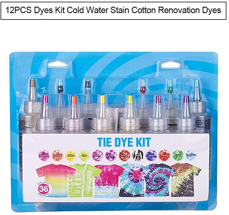 12 Color DIY Dye Set - Vibrant Fabric Textile Spiral Rainbow Hipster,Cold Water Dye for Cotton and Linen Renovation- and Color Change