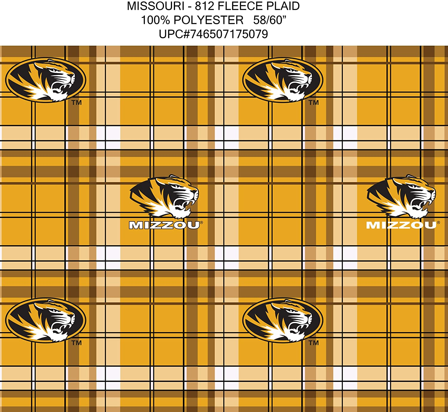Missouri Fleece Fabric-Missouri Tigers Plaid Fleece Fabric-Sold by The Yard