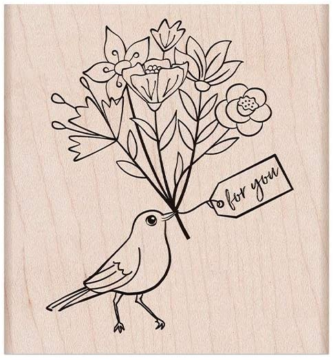 Hero Arts K6423 Woodblock Stamps, Bird with Bouquet