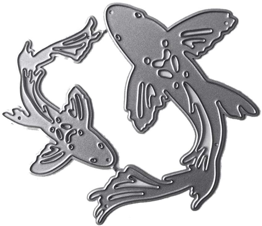minansostey Fish Metal Cutting Dies,Stencil, Scrapbooking DIY Album Stamp,Paper Card Emboss