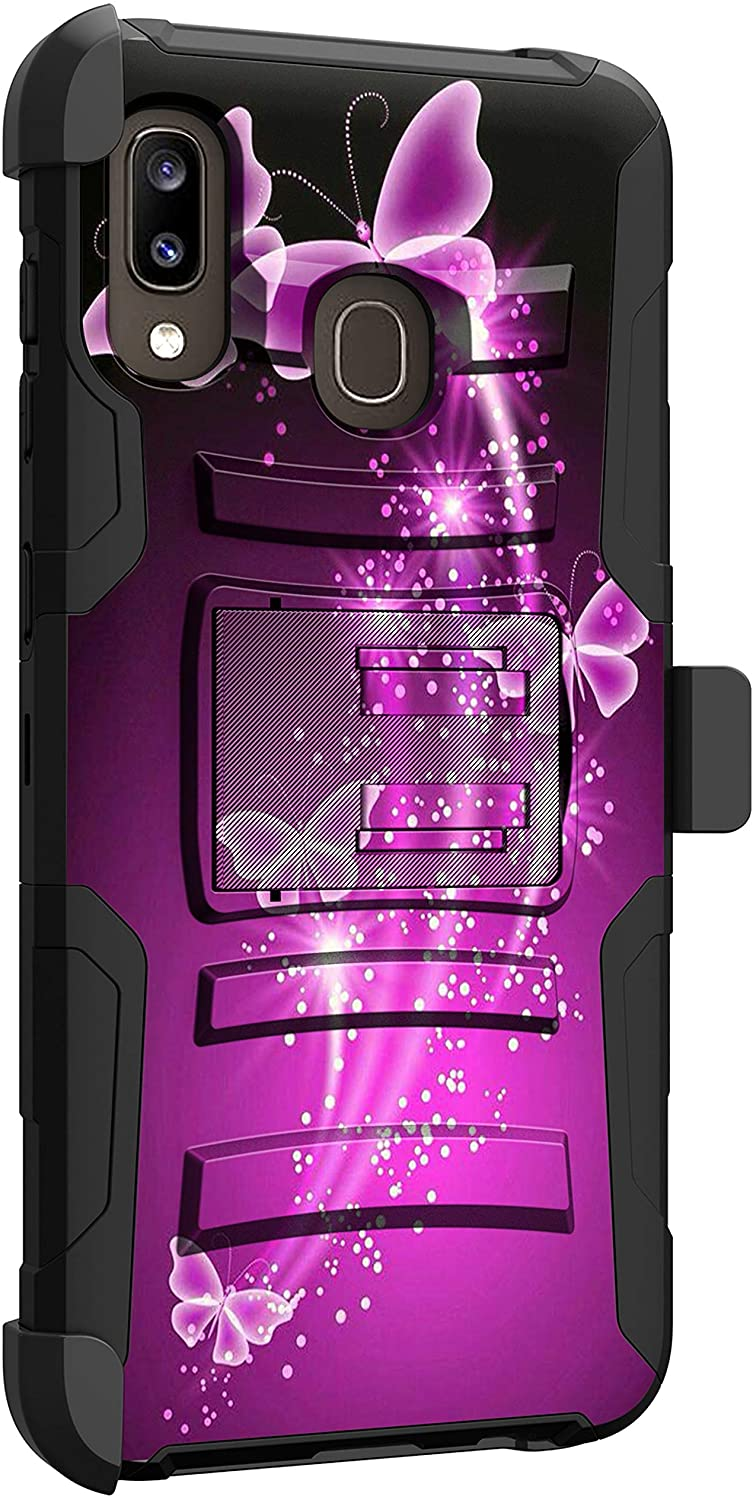 MINITURTLE Compatible with Samsung Galaxy A20, Samsung Galaxy A30, Samsung Galaxy A50 Shockproof Rugged Dual Layer Case Kickstand Armor Holster Clip [Clip Armor] - Purple Butterflies