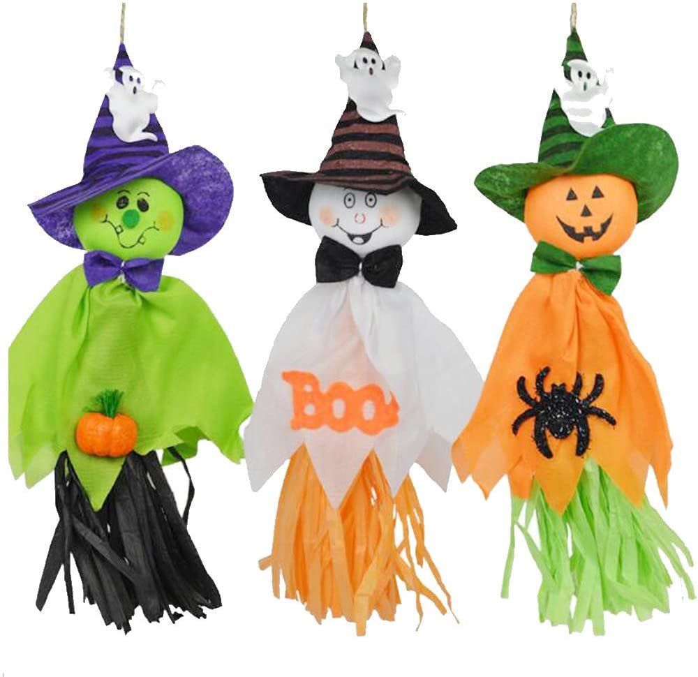 PowerGaga Halloween Hanging Ghost Decorations Pumpkin Ghost Straw Windsock Pendant Scary Halloween Ghost Bar Supermarket Garden Party Hanging Ornaments