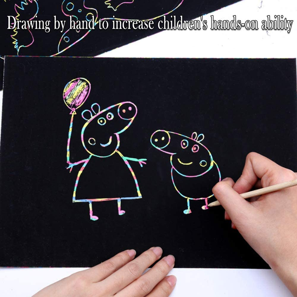 Decdeal Fun DIY Magic Doodling Scratch Drawing Scraping Painting Home Decorative Scratch Art Crafts Party Gift for Kid Children Boy Girl 50 Piece