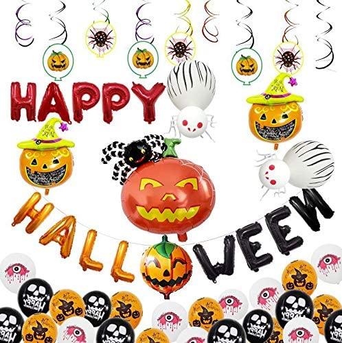 53pcs Halloween Balloons Set Pumpkin Ballooon, Spider Party Happy Halloween Decorations Party Favors Supplies(53pcs)