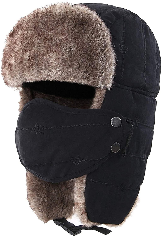AMAKU Winter Trapper Hat with Face Mask Fur Ear Flap Trooper Outdoor Windproof Ushanka Hat for Men & Women
