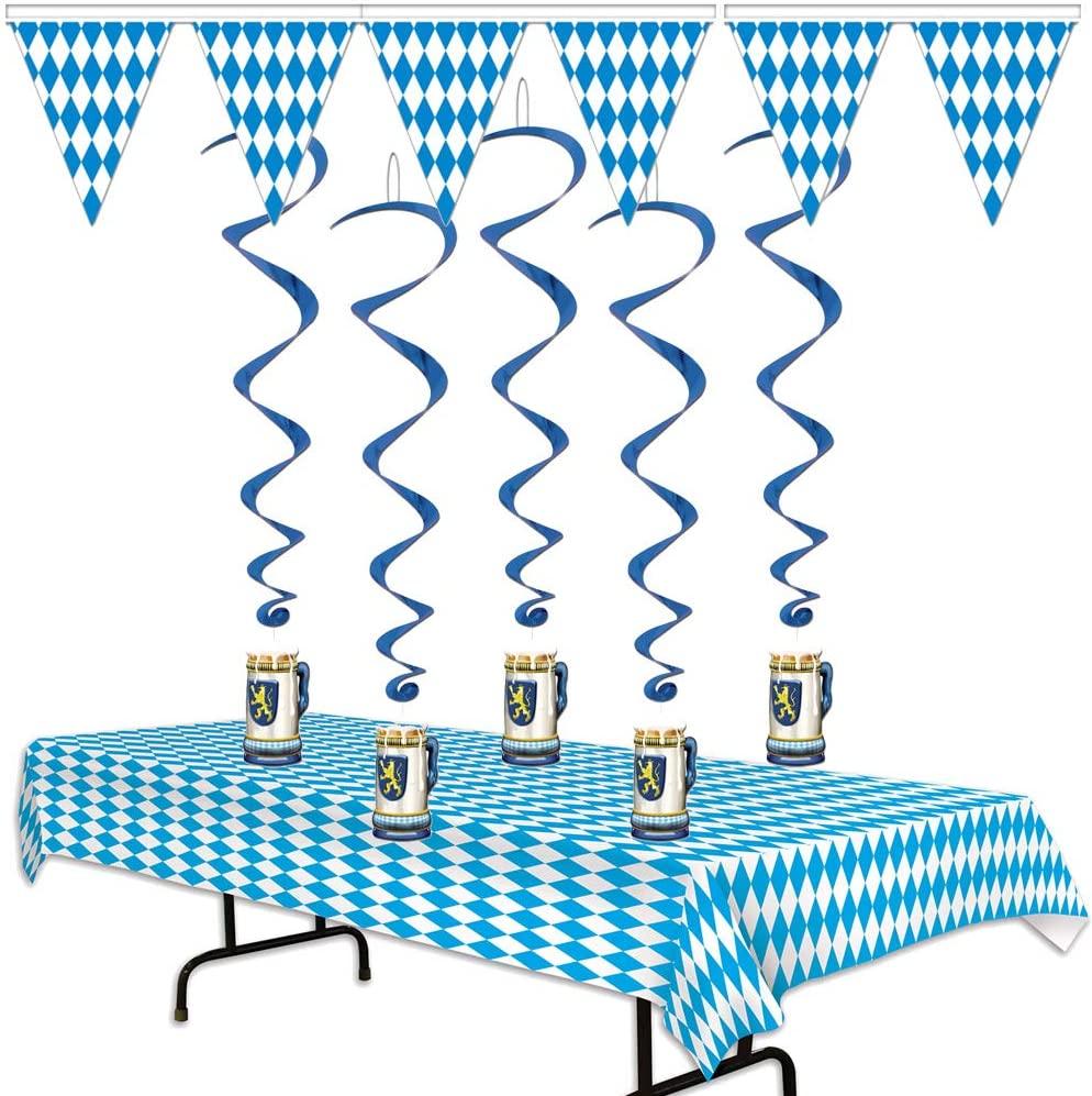 Oktoberfest Decorations Pack Set Germany Bavarian Beer Festival Party Supplies Bundle Kit (Blue Checkered)