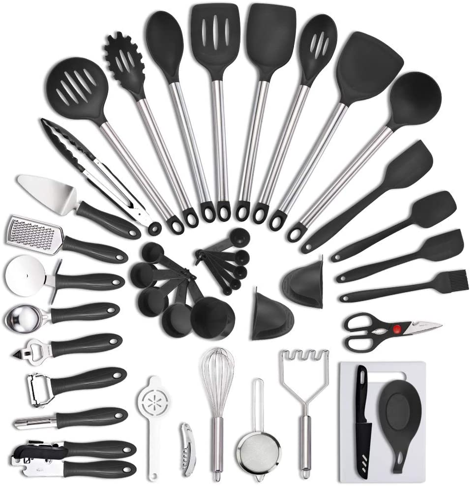 42PCS Nylon Kitchen Utensils set,Heat Resistant, Kitchen accessories Non-Stick Cooking Utensils Baking Tools,Tongs Turner Spatula Ladle Whisk Shovel Spoon Soup Kitchenware (Black) VEICA