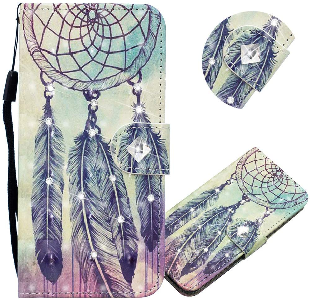 EMAXELER Galaxy A70 Case 3D Creative Pattern PU Leather Wallet Diamond Case Bookstyle Flip Stand Card Holder Shockproof Magnetic Protective Cover for Samsung Galaxy A70 CY Feather Wind Chimes.