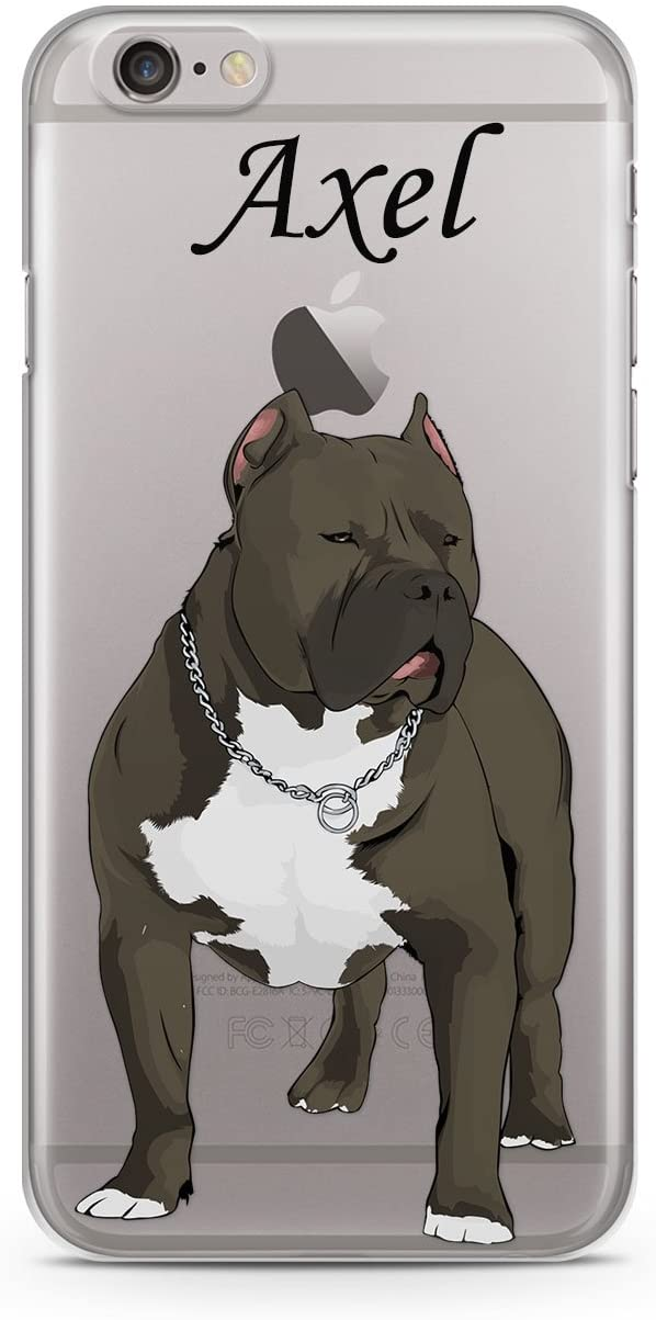 CodeiCases iPhone 7 Pitbull Dog with Name Clear Cover, Dog with Name Case Clear Transparent for iPhone