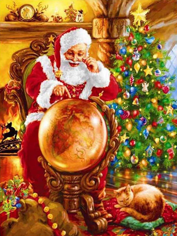 SANPAP DIY 5D Full Drill Diamond Painting Christmas Santa Claus Kits,Tree Cat Gift Elk Crystal Rhinestone Embroidery Diamond Arts Stickers Craft Home Wall Decor 30x40cm/12x16Inch