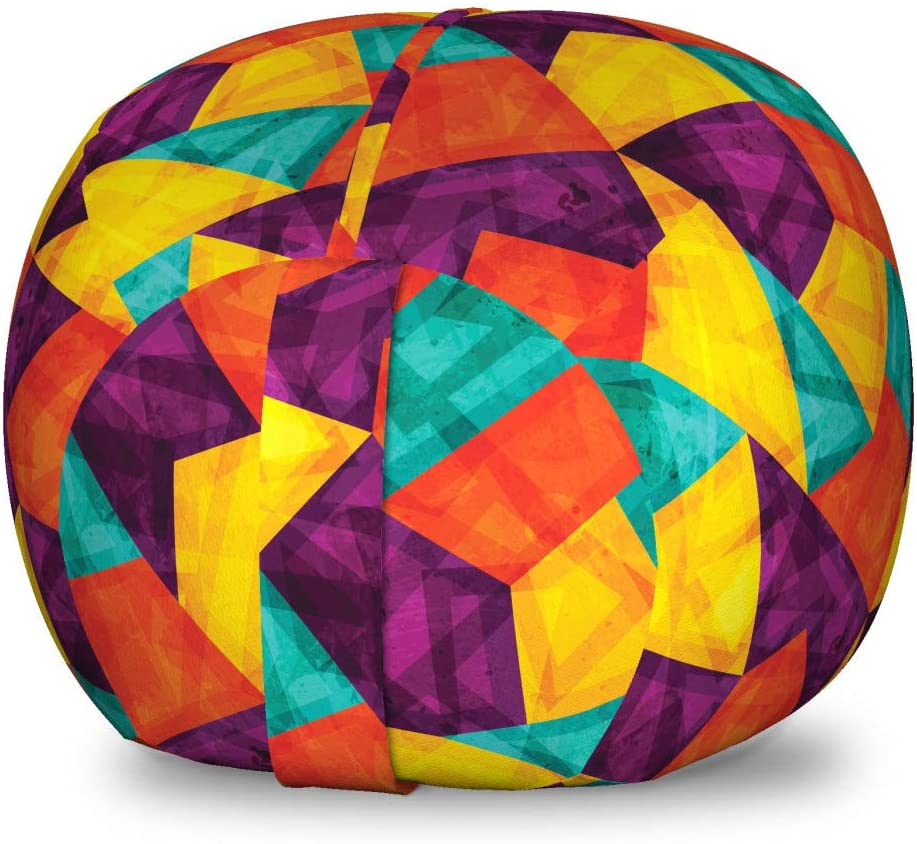 Lunarable Geometric Storage Toy Bag Chair, Ornamental Mosaic Pattern with Grunge Effect Colorful Vintage Shapes Composition, Stuffed Animal Organizer Washable Bag for Kids, Small Size, Multicolor