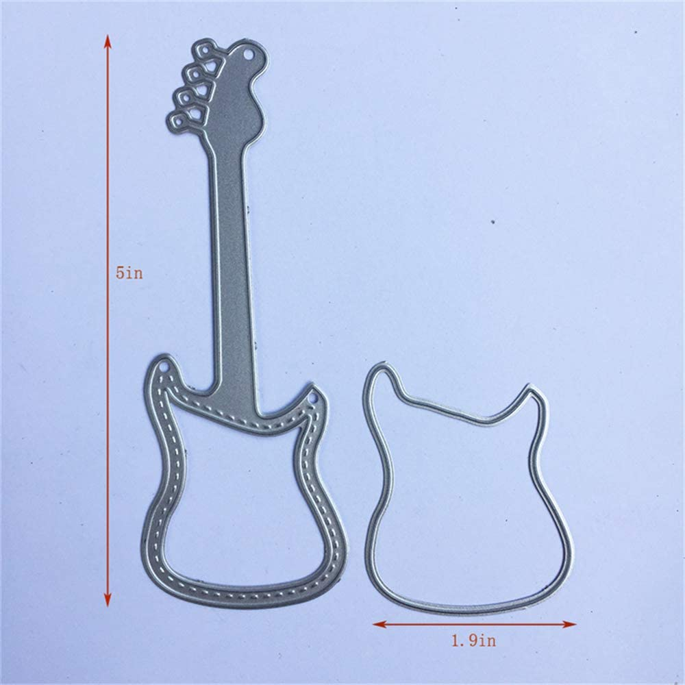 1.9 by 5 Inch Bass Musical Instrument Metal Cutting Dies for Card Making and Scrapbooking Birthday Christmas Craft Die Cuts
