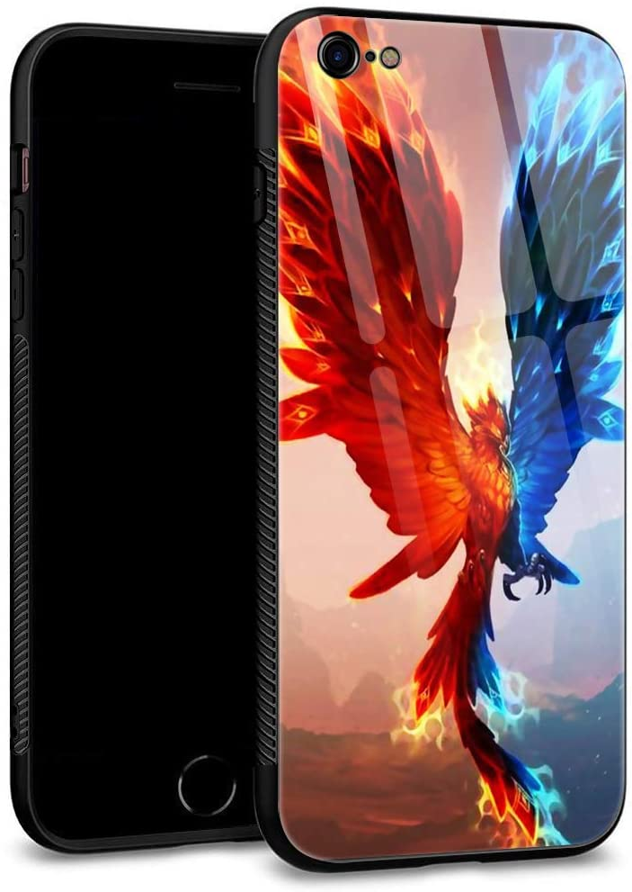 iPhone 6S Case,iPhone 6 Cases Tempered Glass Back Shell Pattern Designed with Soft TPU Bumper Case for Apple iPhone 6/6S Cases -Birds of Ice and Fire