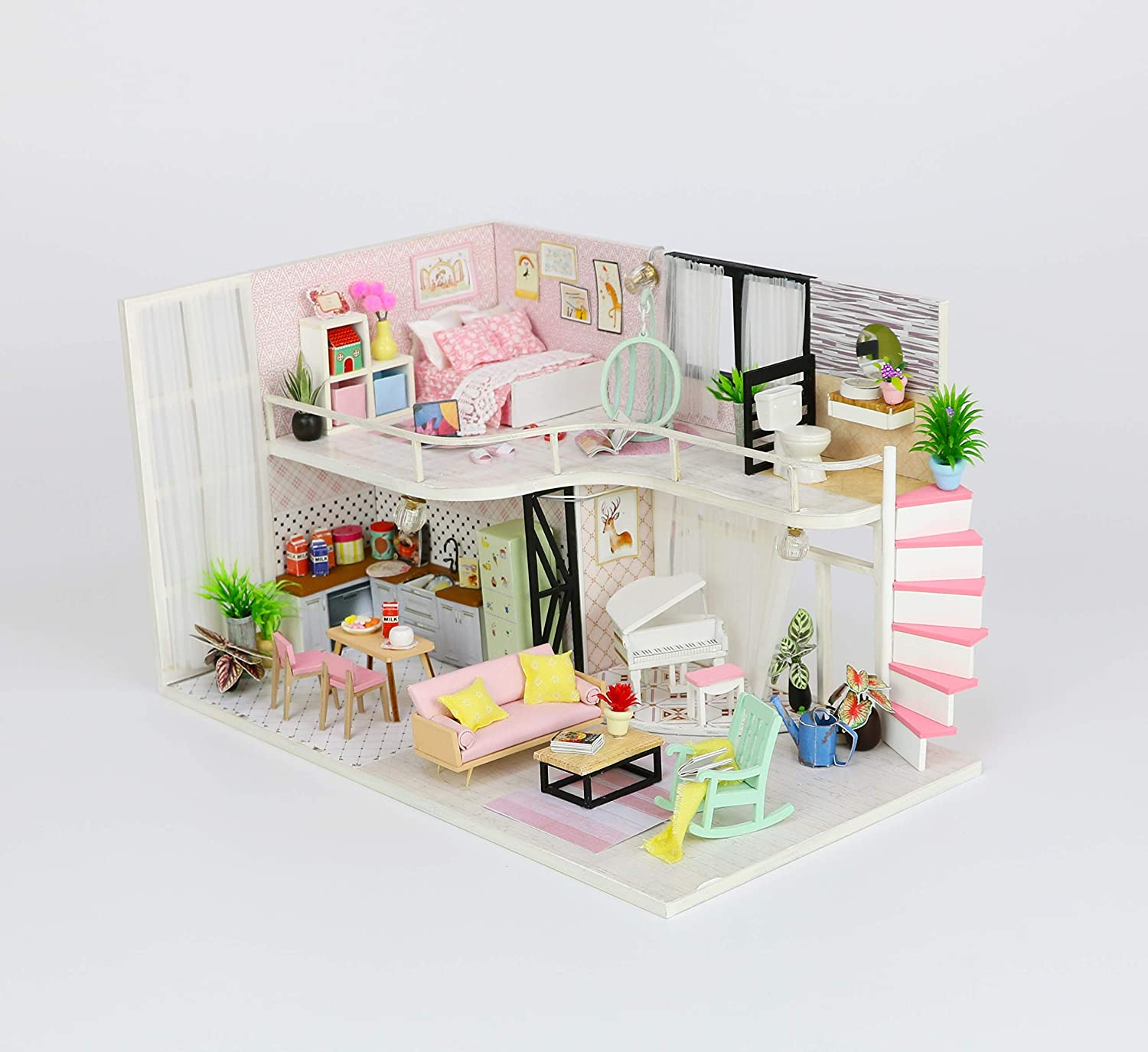 By Teddy Anna's Pink Melody Miniature Two-Floor Dollhouse Model DIY Dollhouse Project Kit | Includes Lights and Furniture (Unassembled)