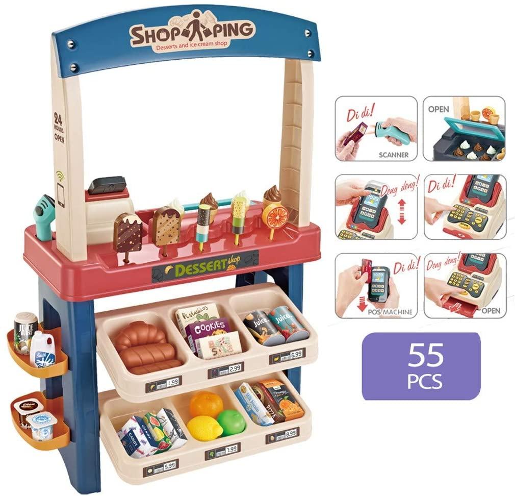 Erwazi 55 Pieces Supermarket Stand, Luxury Grocery Store Playset, Ice Cream Shop Supermarket Kids Market Stall Toy Shop Pretend Play with Scanner
