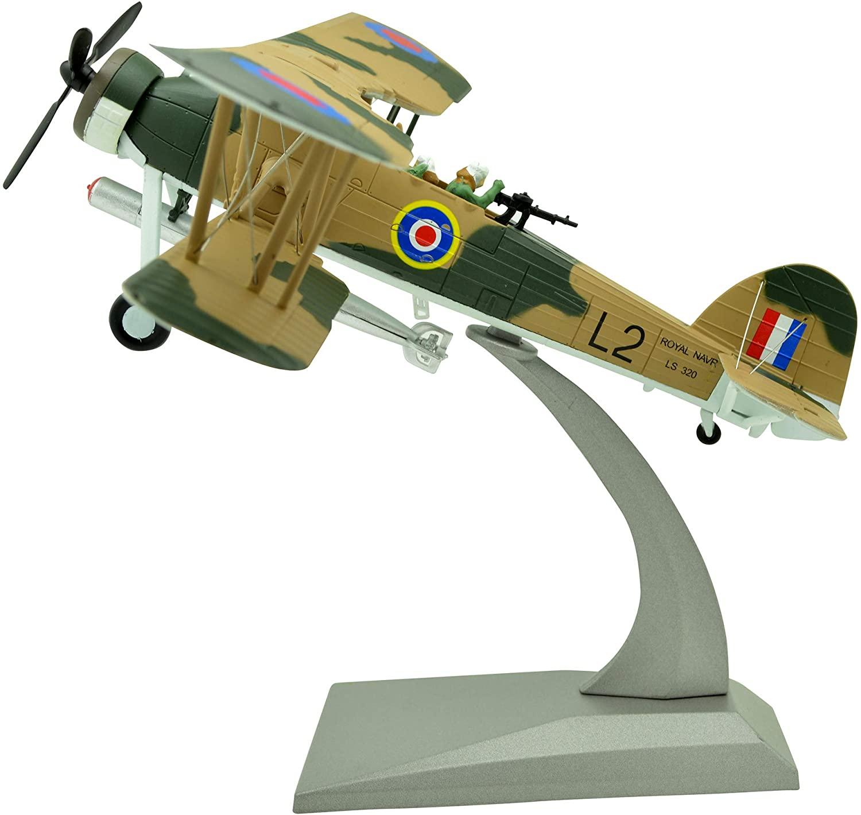 TANG DYNASTY(TM) 1:72 Fairey Swordfish Biplane Torpedo Bomber Metal Plane Model,British Royal Navy, Military Airplane Model,DiecastPlane,for Collecting and Gift