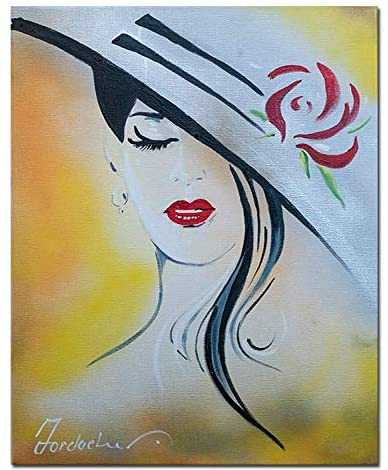 Handankun Elegant Woman Hand Painted by Professional Artist on Canvas.Perfect for Wall Decoration: Apartment, Hotel, Living Room, Living Room, Bedroom, Dining Room