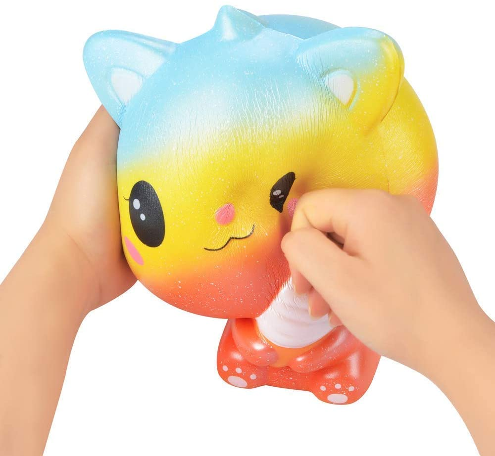 Ganjiang Kawaii Giant Animal Squishy Jumbo Squishies Soft Slow Rising Soft Stress Relief Toy, Kids Gifts, Home Decor,Collections (Orange Ice Cream Cat)