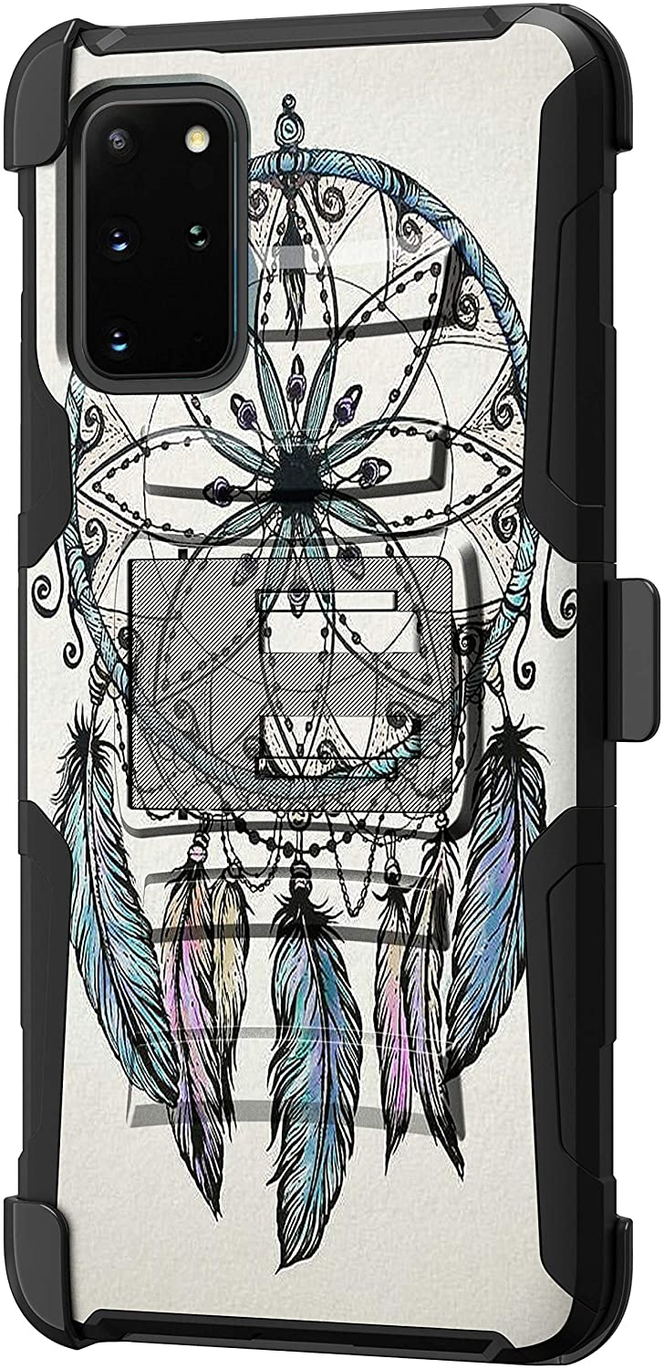 TurtleArmor | Compatible with Samsung Galaxy S20+ Plus Case 6.7 | Samsung Galaxy S11 Case [Hyper Shock] Hybrid Dual Layer Armor Holster Belt Clip Case Kickstand - Dreamcatcher Feathers