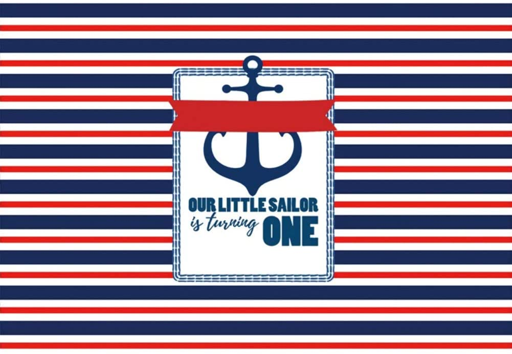 YongFoto 5x3ft Baby 1 Year Old Birthday Photography Background Marine Stripes Pattern Anchor Our Little Sailor is Turning One Happy Birthday Backdrop Boy Bday Party Decor Banner Portrait Photoshoot