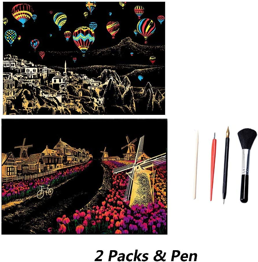 Scratch Art Paper Rainbow Painting Sketch Pad DIY Night View Scratchboard for Adults and Kids Scratch Painting Creative Gift 2 Packs, 16 x 11.2 Inches