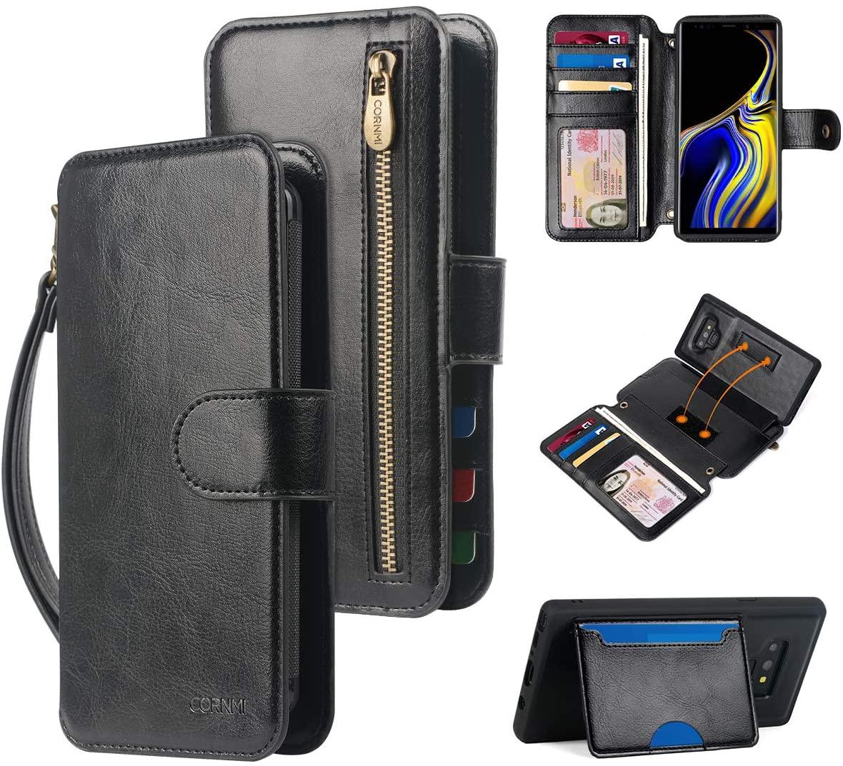 CORNMI Samsung Galaxy Note 9 Wallet Case, Zipper Pocket Strap Detachable Kickstand, Flip Cover Leather Folio Purse Protective Magic Sticker with Card Holder- Black