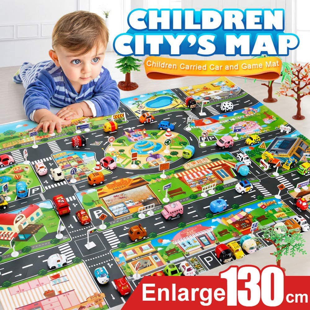 Kids Play Mat City Road Buildings Parking Map Game Scene Map Educational Toys, Learning & Education, Shipping from The US (Multicolor)