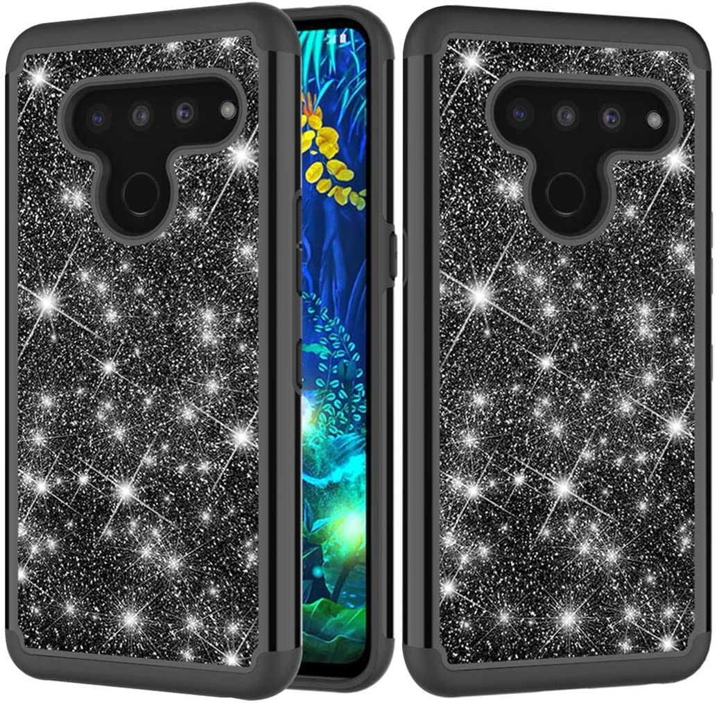 Sidande Phone Case for LG V50 /LG V50 ThinQ 5G Case (2019), Girls Women Glitter Bling Sparkle Defender Heavy Duty Phone Cover Cases for LG V50 ThinQ (Black)