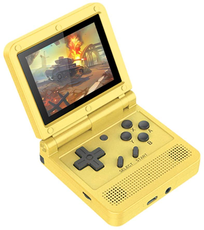Handheld Game Console, Rechargeable Retro Game Player Built in 3000 Games, 3-inch IPS Screen V90 Mini Game Console, for Girls and Boys (Yellow)