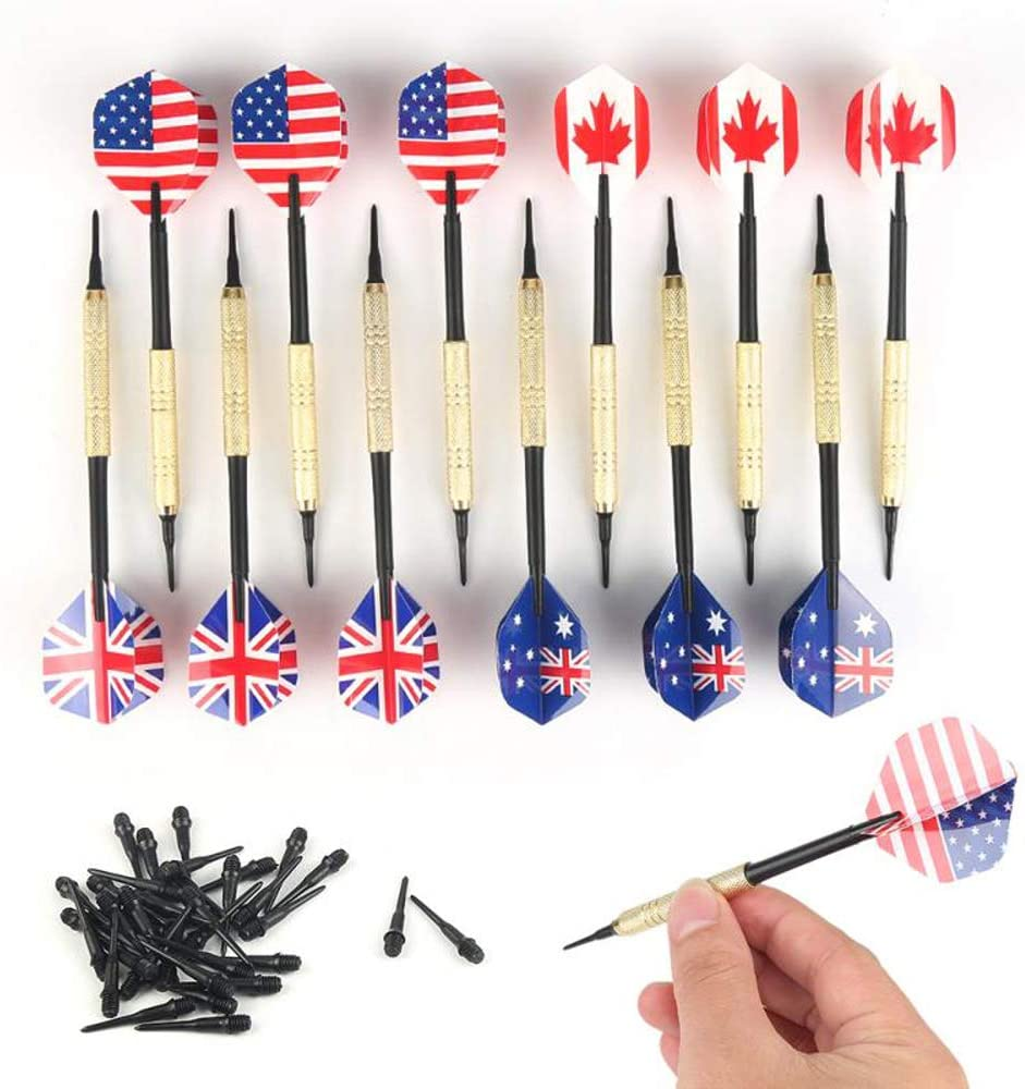 HUOFU Soft Tip Darts for Electronic Dartboard, Plastic Soft Dart with Dart Tips and Flight Protectors, Dartboard Accessories