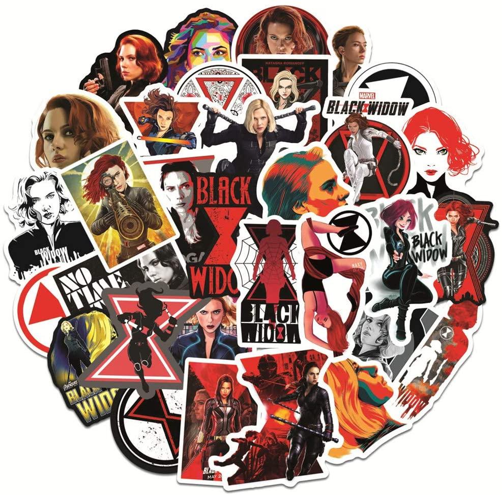 Funny Aesthetic Film Stickers for Superhero Black Widow,50 Pcs Trendy Vinyl Stickers of Avebgers for Kids Boys Teens Girls,Waterproof Stickers for Waterbottle Laptop Computer MacBook Pad Flasks Car