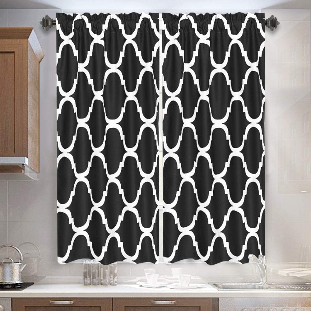 Melodieux Set of 2 Moroccan Fashion Tier Curtains for Kitchen, Geometric Lattice Rod Pocket Curtains for Cafe Bathroom Small Windows, 45 Inch Length, Black