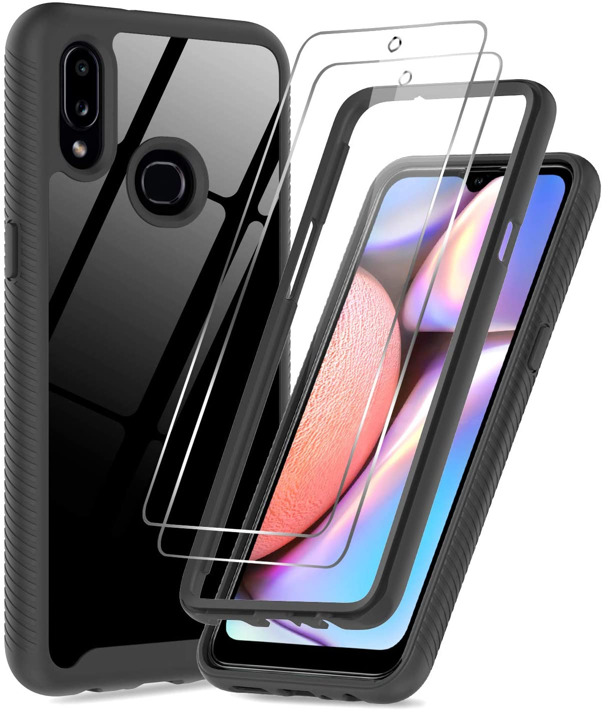 Samsung Galaxy A10S Case, Galaxy A10S Case with 2 Tempered Glass Screen Protector, LeYi Full-Body Protective Rugged Hybrid Bumper Shockproof Clear Phone Cases for Samsung A10S (Not Fit A10e), Black