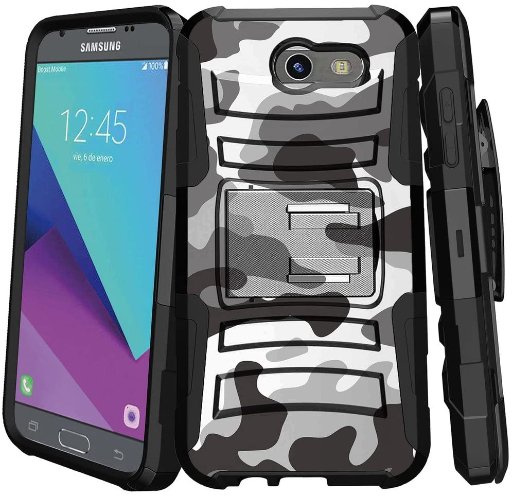 MINITURTLE Compatible with Samsung Galaxy J3 Emerge / J3 Eclipse / J3 Luna Pro / J3 Mission Holster Case Dual Layer Protective Non Slip Belt-Clip Combo Cover w/Stand - Winter Camouflage