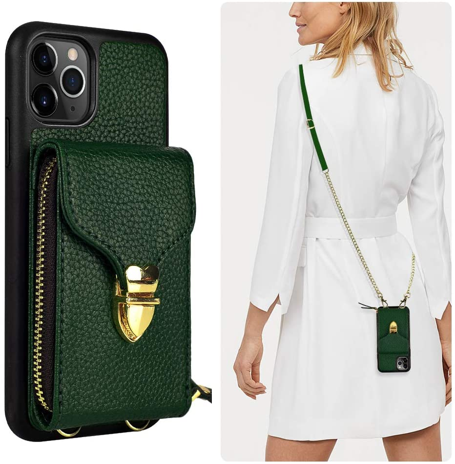 iPhone 11 Pro Max Wallet case, JLFCH iPhone 11 Pro Max Crossbody Case with Zipper Card Slot Holder Wrist Strap Shoulder Chain Leathe Purse for Apple iPhone 11 Pro Max 6.5 inch 2019 - Midnight Green