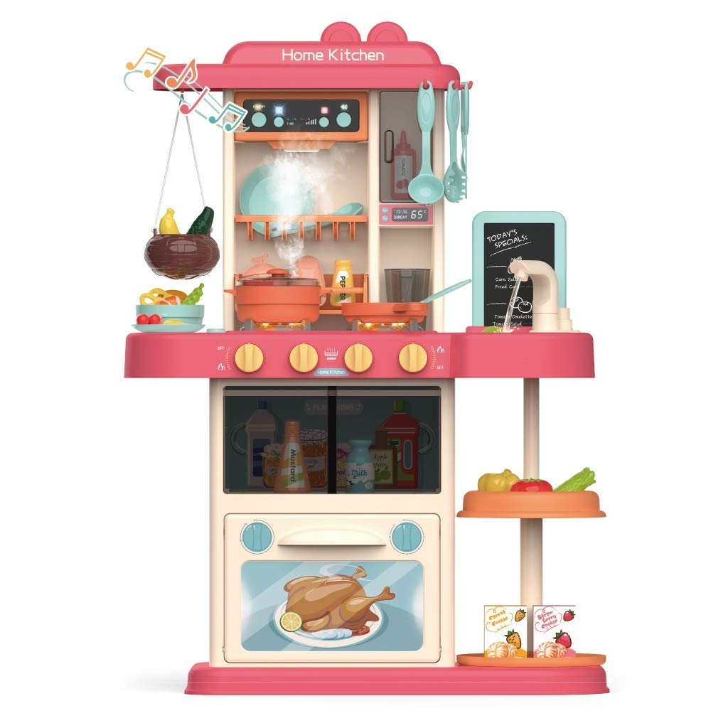 Gourmet Kitchen,Role Play Kids Kitchen Playset with Real Cooking Spray and Water Boiling Sounds Educational Gifts (Pink)