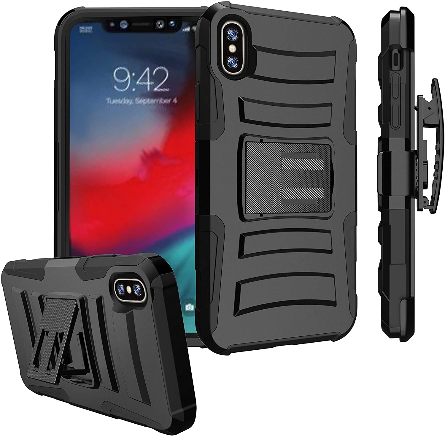 Untouchble Apple iPhone Xs Max (2018), Xs Max Holster Case [Heavy Duty Clip]- Xs Max Shockproof Swivel Holster Case with Kickstand - Black