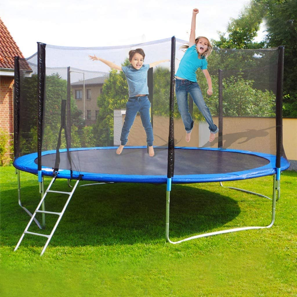 AIEason US Stock 12FT Trampoline W/Safety Closure Net for Kids Adults with Spring Cover Padding Trampoline andLadder Jumping Mat Outdoor Great Gift Fun Summer Exercise Fitness Equipment