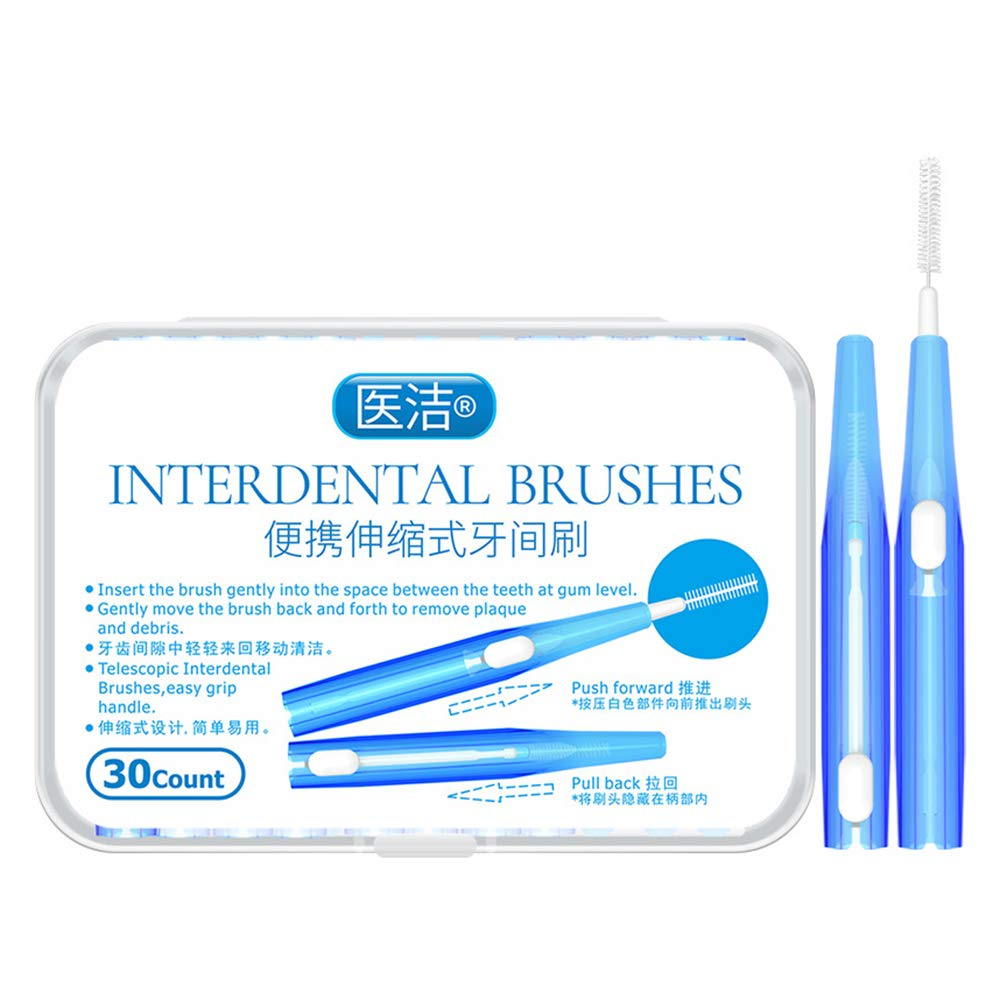 Montloxs 30pcs Toothpick InterBrushes Tooth Flossing Head Oral Hygiene Brush Optional Sizes