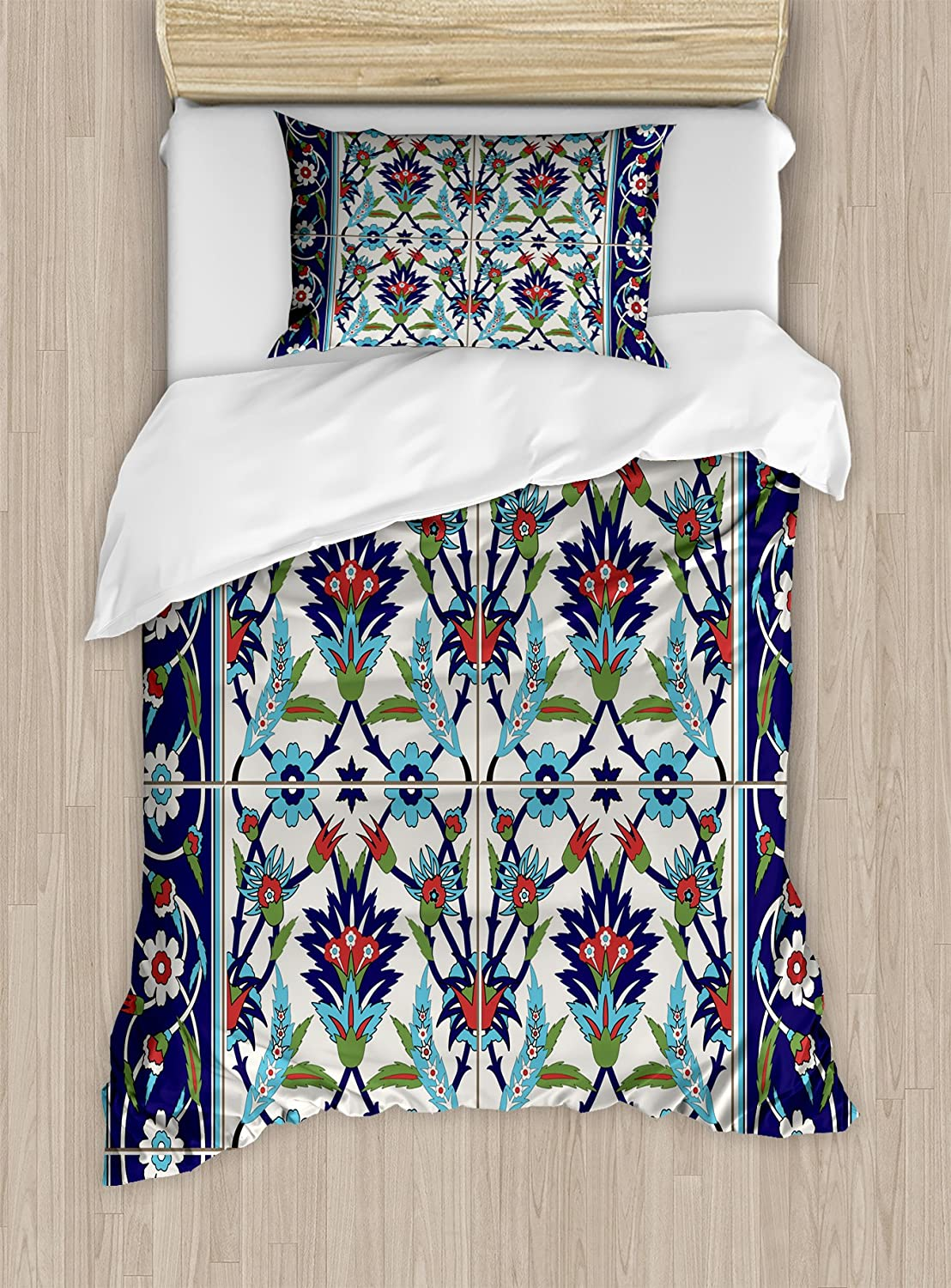 Ambesonne Turkish Pattern Duvet Cover Set, Mosaic Tiles with Nature Inspired Ornaments Tulips and Daisies with Curls, Decorative 2 Piece Bedding Set with 1 Pillow Sham, Twin Size, Blue White