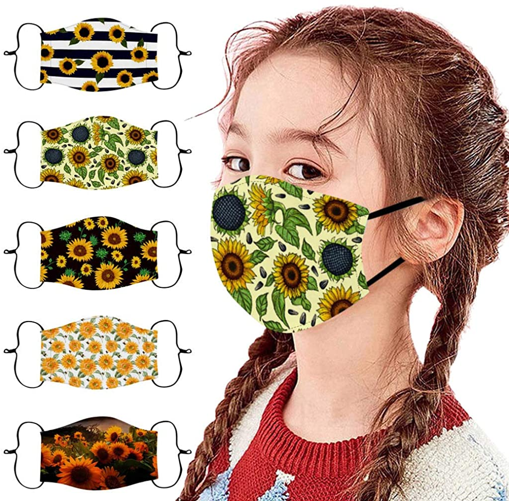 【Usa In Stock Fast Delivery 】5Pcs Kids Mack Boys Girls Facemasks Reusable Washable Breathable Dust Cute Cotton Face Covering With Adjustable Ear Loops