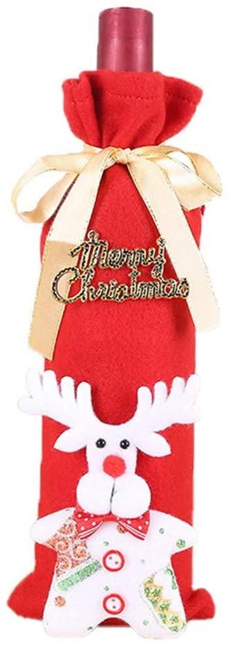 Nstcher Christmas Wine Bottle Cover Ornament Clothes Set Xmas Santa Table Decor Party Favor Toys Surprise