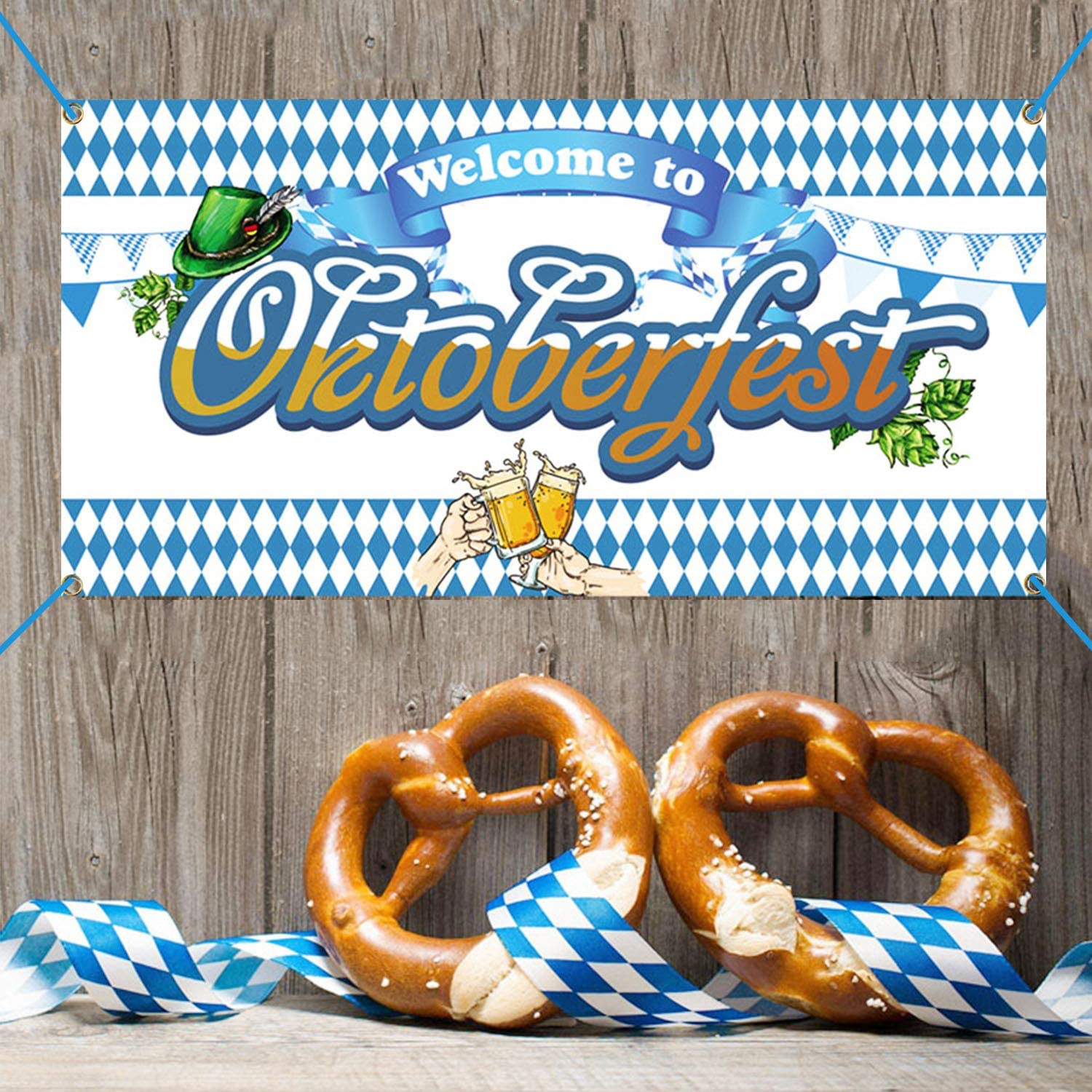Oktoberfest Party Banner Decorations,Beer Festival Party Supplies Oktoberfest Blue Hanging Wall Banner 2020 for Indoor/Outdoor(70.86''x35.82'')
