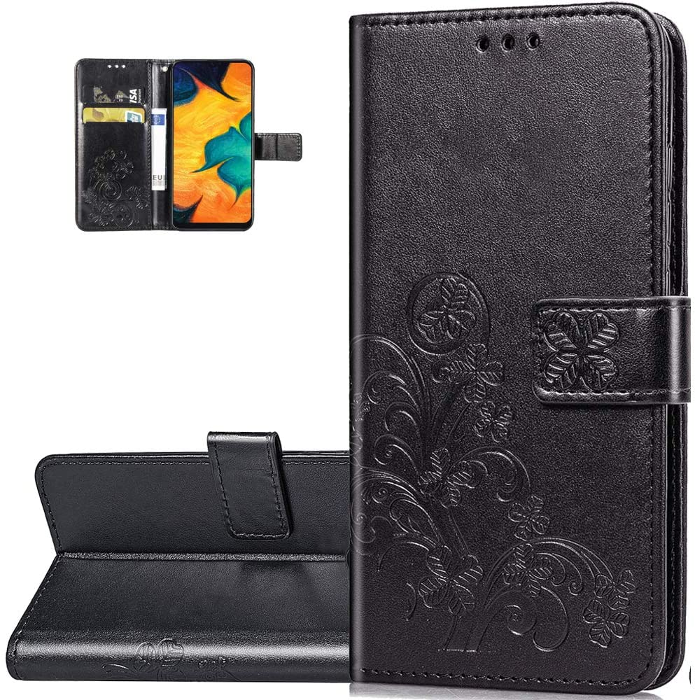 LEECOCO LG V50 ThinQ 5G Case Embossed Lucky Clover Floral with Card Slots Magnetic Flip Stand Premium PU Leather Wallet Shockproof Slim Protective Cover for LG V50 ThinQ 5G Clover Black SD