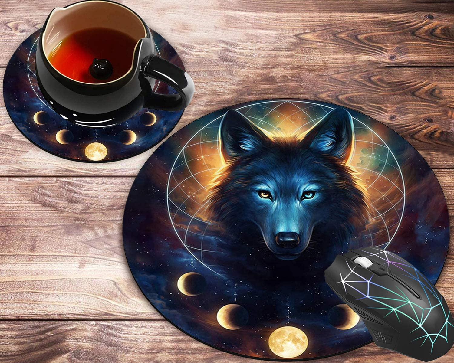 Round Mouse Pad and Coasters Set, Fantasy Wolf Moon Galaxy Mousepad, Non-Slip Rubber Round Mouse Pad, Customized Mouse Mat for Working and Gaming