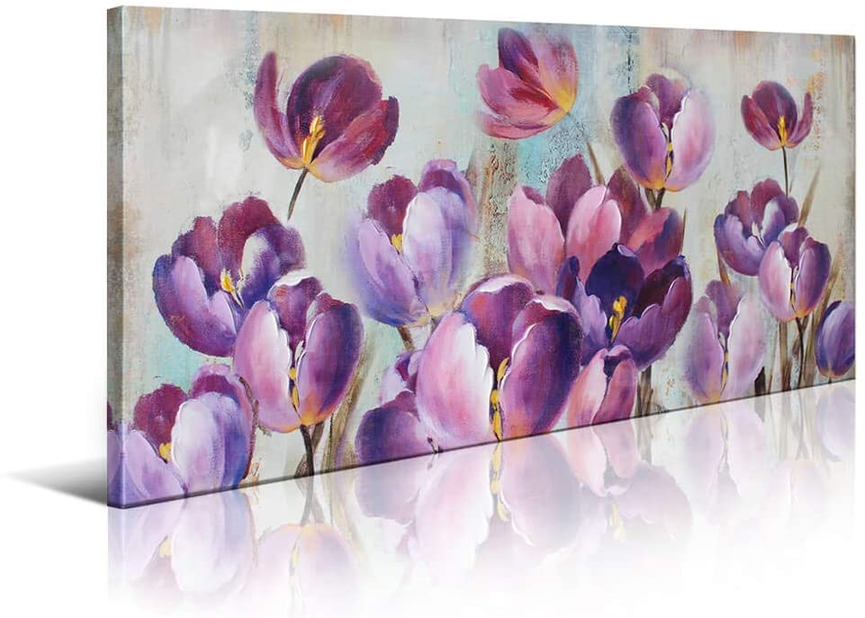 Wall Decorations for Living Room Tulip Canvas Art Wall Decor for Bedroom Large Wall Art Modern Home Decor Framed Wall Art Pink Purple Flowers Art Prints Pictures Artwork for Home Decoration 24x48