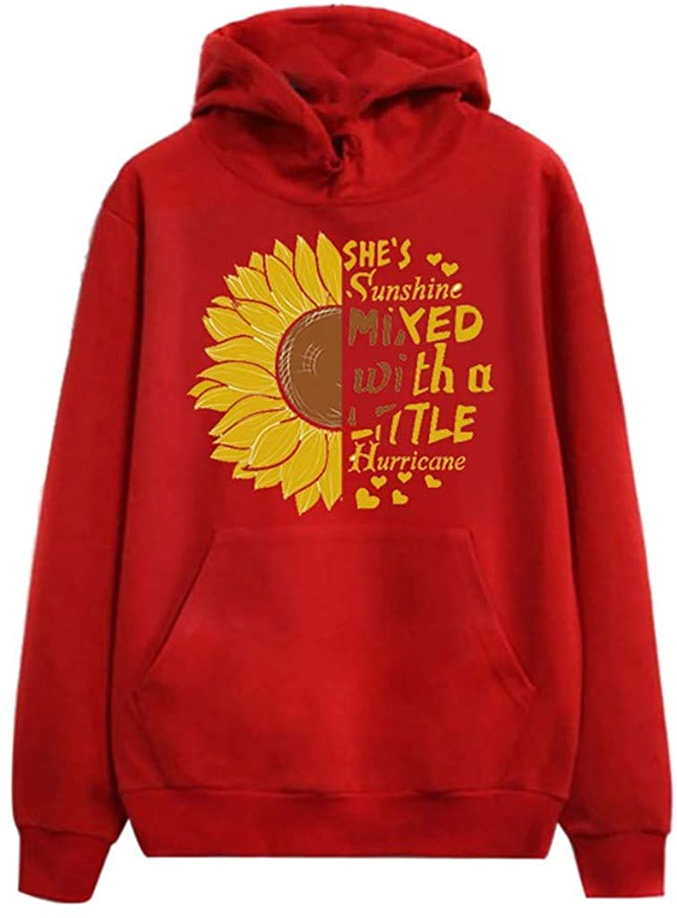 Womens Hooded Pullover,Sunflower Print Hoodies Tops Blouse Drawstring Top Long Sleeve Sweatshirts with Pocket